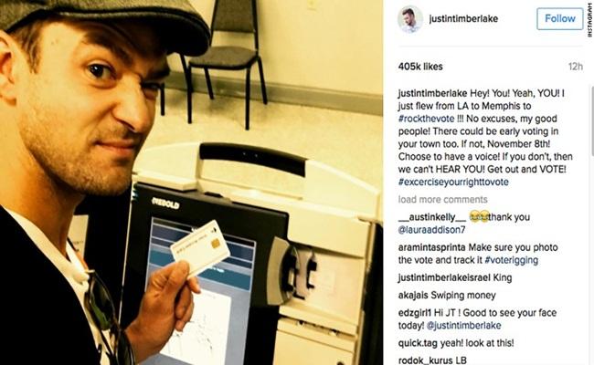 Yuridis-Justin Timberlake berswafoto dengan surat suara/image/cnn.com/arsip