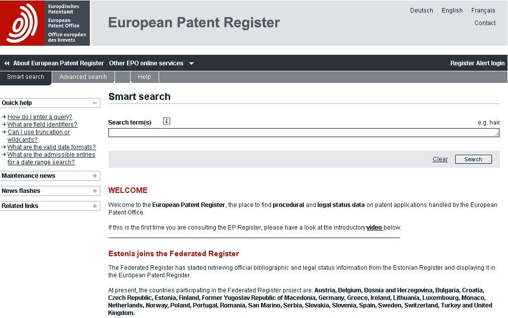 European Patent Register epo.org  - Espacenet Selama 20 Tahun Melayani Akses Informasi Paten di Eropa
